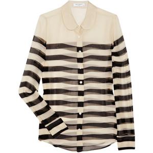 7b5cbe4d74 black/white stripe sheer blouse/ ...