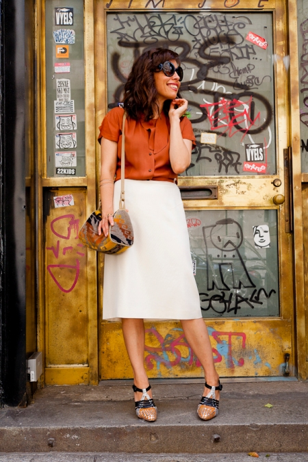 Vintage silk blouse/ white skirt/ photo courtesy of http://the-coveted.com/blog/2011/06/08/classic-white-skirt/