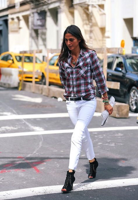 Plaid shirt and white skinnies/ Photo courtesy of StyleCarrot