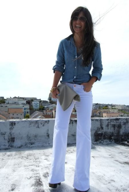 White boot cut denim/denim shirt/photo courtesy http://lovelipstickandpearls.blogspot.com